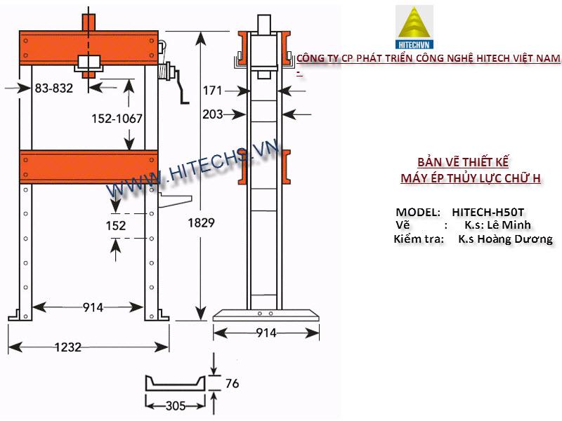 Bản vẽ thiết kế máy ép thủy lực chữ H -HITECHVN
