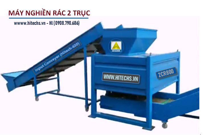 máy nghiền rác sinh hoạt 2 trục