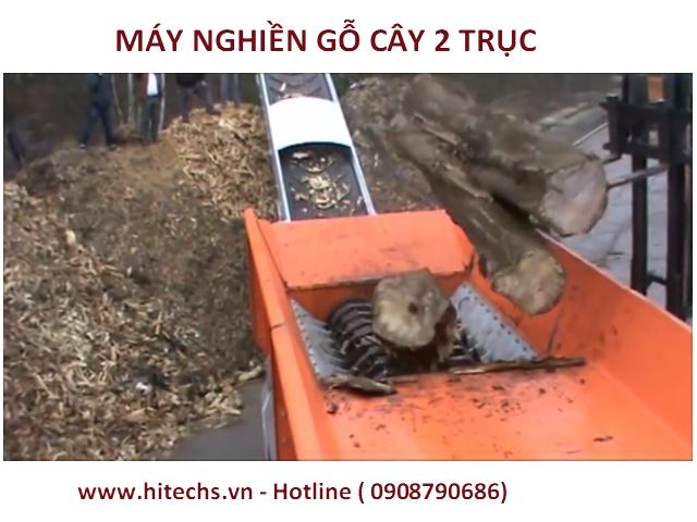 Máy nghiền gốc cây, thân cây lớn, loại băm 2 trục năng suất cao. Loại Máy nghiền tốt và phổ biến nhất.