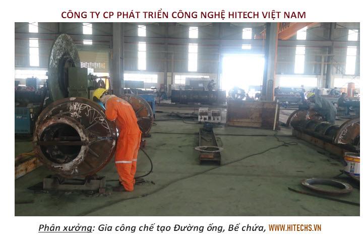 Lắp đặt, chế tạo đường ống, bể chứa tại phân xưởng kết cấu thép Hitech